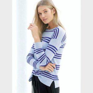 J Crew Blue Striped Merino Wool Knit Jumper XS